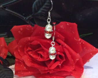 Traditional Red and White Double Glass Pearl Earrings Bridesmaid Flower Girl Wedding Bridal Jewelry