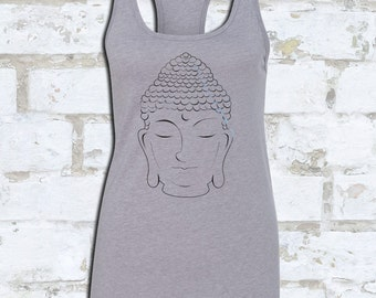 BUDDHA TANK FOILED in Metallic Black | Metallic Yoga Tank