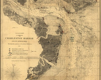 Poster, Many Sizes Available; Map Of Charleston Harbor 1863 Fort Sumter