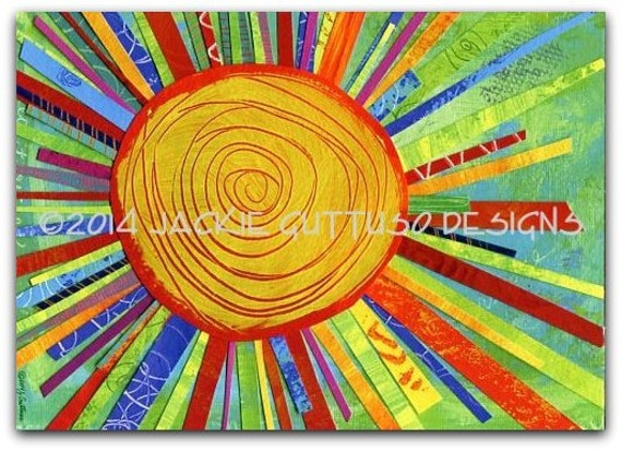 Sun wall art Giclee print 5 x 7 Gender neutral