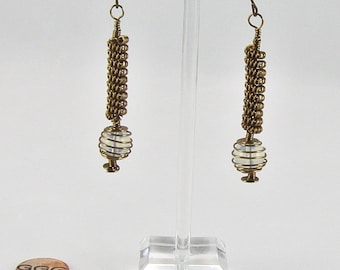 Earrings - Coils & Spirals With Moonstones (E135)
