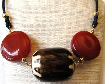 Batiked Bone Drum Bead with Carnelian Coin Beads Unisex Necklace