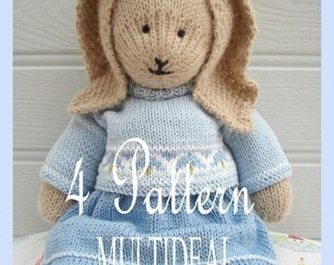 4 Bunny Knitting Patterns/ Oscar/ Bluebell/ Daisy / Primrose/ Rabbits/ / Plus FREE 'Handmade Shoes' Knitting Pattern/ INSTANT Download