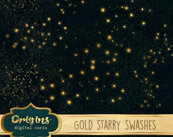 Golden Starry Swashes PNG Clipart, gold star clip art, glowing moon and stars night sky photo overlays, photography digital instant download