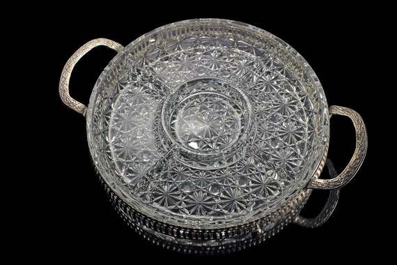 Divided Relish Tray, Silver Plated Carrier, Made in England, Clear Pressed Glass, 5 Section, Daisy and Button