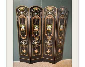Vintage Florentine Style Hand Painted 4 Panel Screen
