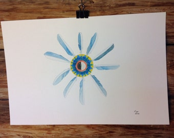 """Bluebird Feathers, Native American Inspired Art , Watercolor original, Southwest Painting, """"Water Starburst"""""""