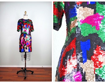 VTG Fully Sequined Dress / Multi Color Trophy Dress by braxae / Colorful Abstract Beaded Sequin Dress