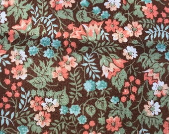 2 Yards of VIntage AMerican Dye Pot Collection Brown with Peach, Blue and Green Floral Print Cotton Fabric