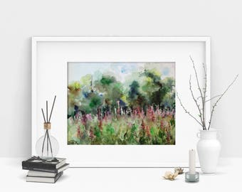 Field of flowers summer landscape painting, ORIGINAL Watercolor Painting, nature painting art