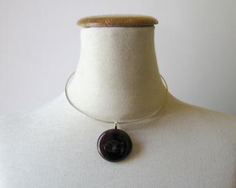 Dark Burgundy Round Glass Pendant with Choker - Minimalist Jewelry, Glass Gem, Unique, Cute, Nugget Necklace, Statement Necklace