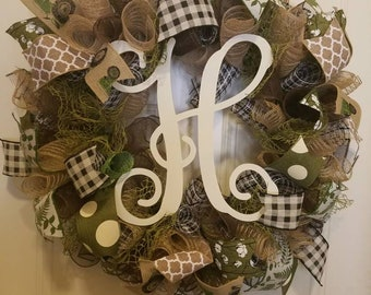 Country Tractors and Cotton Wreath with choice of Monogram