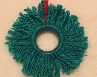 Yarn Christmas Wreath Ornament