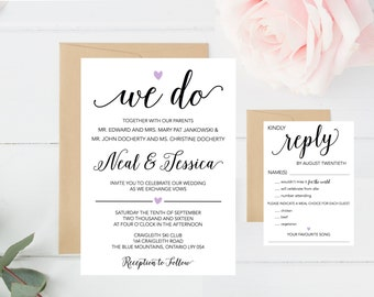 Wedding Invitation Set, We Do, RSVP, Rustic, Simple, Heart, Script, Black, White, Lavender, Elegant, Calligraphy