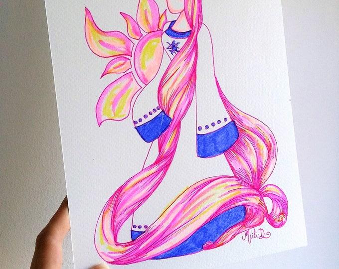 Featured listing image: Peinture bretonne Heol, Princesse du Soleil