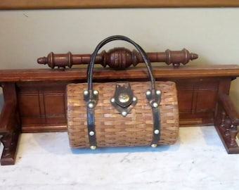 Etsy BDay Sale Vintage Handmade Wicker, Wood And Leather Trim Barrel Basket Tote - Unique Tote