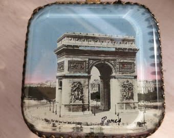 Paris French Antiques - Casket JewelryTrinket Box- Paris Arc de Triomphe,  Gold Ormolu, Beveled Glass,