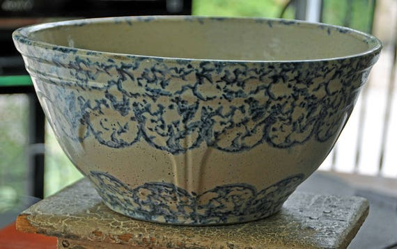 """Antique 19th C 1870-1880 BLUE & WHITE SPONGEWARE Pottery Bowl Hand Painted and Glazed, 11 1/4"""" inside di, 12"""" outside di x 5 3/4"""" out side H"""