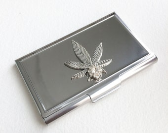 business card holder, business card case, stoner gift, cannabis, marijuana,card holder, mens accessories,business card case silver,weed
