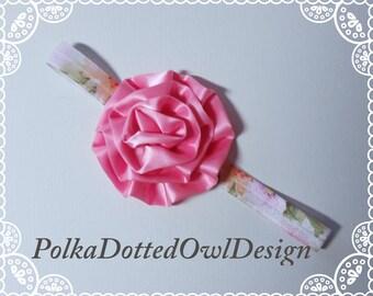 Pink oversize flower headband,baby girl headband,infant photography,bridal headband,flower girl,cake smash,birthday,pink princess birthday