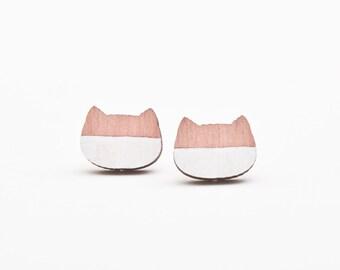 Tiny Cat Stud Earrings, Pink Post Earrings, Cats Ear Studs, Tiny Earrings, Valentine's Day Gift, Cat Lover Gift, Minimalist Earrings