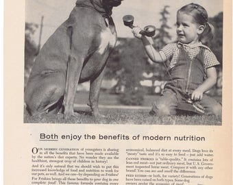 1954 BOXER dog & toddler with toy ROTARY TELEPHONE Friskies dog food Print Ad