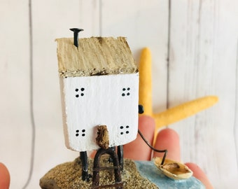 The Little House On The Hill • Coastal Art • Driftwood art • Beach theme • Seaside inspired