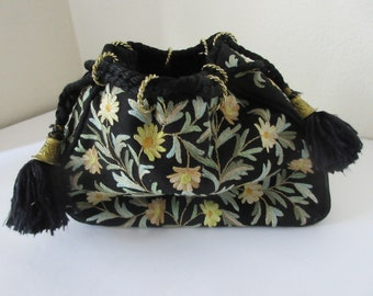 Vintage Embroidered Black Satin Satchel with Gold Rings & Tassels