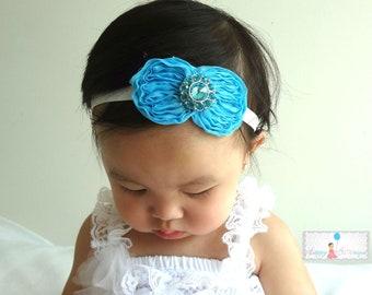 Turquoise Shabby Bow Rhinestone Baby Girls Headband  / Baby headbands/ Girls headbands/ infant headbands / Baby Photo props Bows