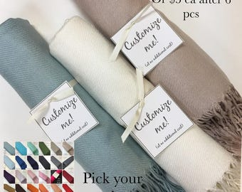 Pashmina 4pc - Personalized shawl - Bridesmaids gifts - Wedding favors - Customized scarves