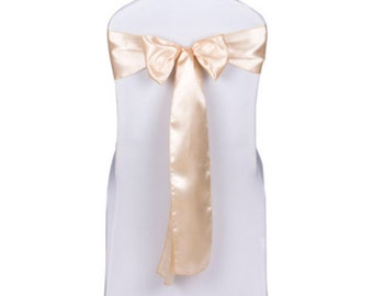 Champagne Satin Chair Sashes Bows Ties Wedding Engagement Anniversary Reception Ceremony Function Bouquet Christening Baptism Decoration