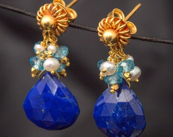 18K Solid Gold Post Earrings with Lapis, Blue Topaz, Pearls