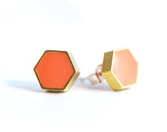 Coral Geometric Hexagon studs in Brass and Resin