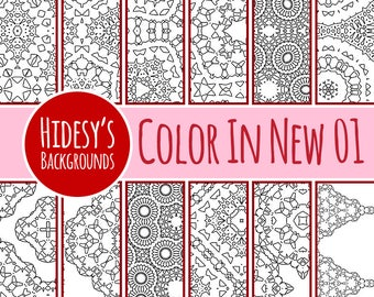 Color In Detailed Adult Level Coloring 01 Digital Paper Patterns / Backgrounds Commercial Use Backgrounds