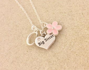 Personalized big sister necklace big sister gift from new baby announcement future new big sister birthday gift ideas baby shower gift