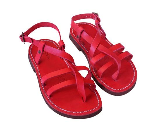 Leather Leather Sandals Greek Flats Greek Shoes women sandals Sandals Leather Sandals Gladiator sandals Gladiator Summer Red 7O45qnw4