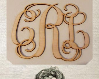 Fancy Vine Monogram Wood Cut Out - Laser Cut