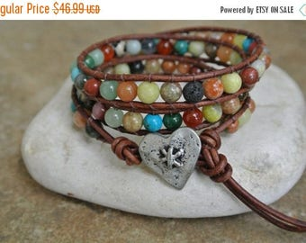 SALE 50% OFF JustHipStuff Gemstone Heart  Beaded Leather Wrap Bracelet          STOREWIDE Sale 20 Percent   Coupon code Sale20