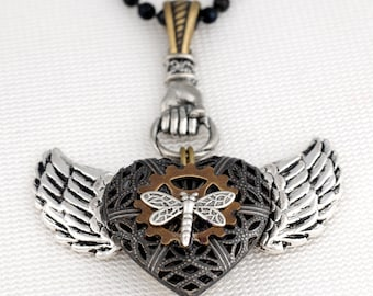 My Heart Has Wings - Winged Heart Locket Necklace - Steampunk Necklace - Filigree Necklace - Perfume Scent Locket - Flying Heart Necklace