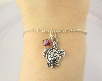 Sea Turtle Bracelet- choose a birthstone, Turtle Bracelet, Sea Turtle Jewelry, Birthstone Turtle, Sea Turtle Charm, Turtle Gift, Sea Turtle