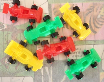Vintage / Plastic Race Cars / Set of Six / Yellow / Green and Red