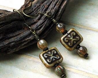 Pretty Bead Earrings, Czech Glass Beads, Casual Bead Jewelry, Copper Metal Accents
