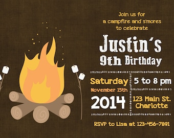 Campout invitation etsy smores birthday party invitation smores and campfire birthday invitation smores party filmwisefo Image collections