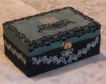 Genuine suede leather box - jewelerybox wood floralornament turquoise blue black handmade OOAK!