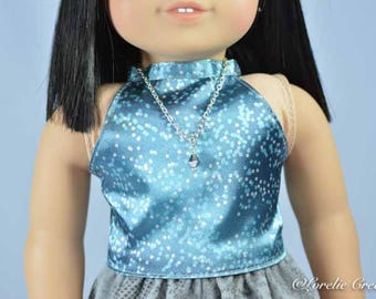 American Girl SKIRT Gray Print Velveteen with Halter Top SHIRT and JEWELRY