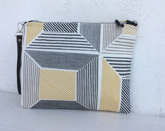 Simple crossbody purse, simple clutch, geometric pattern, zipped purse, summer bag, handmade, gift for her, ipad case, unique purse