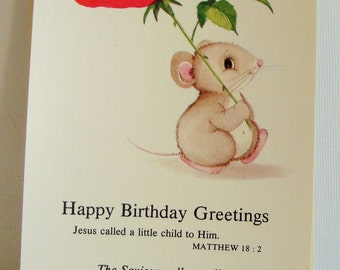 Kitsch birthday greetings card religious themed postcard mouse and red rose picture