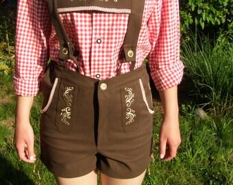 Oktoberfest embroidered Ladies cotton brown Lederhosen