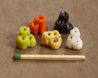 Tiny CANDLES, Miniature Halloween Dollhouse Decorations - witch shack, magic, wizards - 1/12 or 1/6 scale