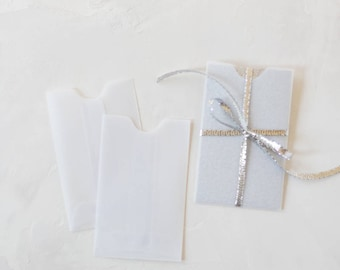 Translucent Clear White Mini Sleeve Envelopes - 25 pc